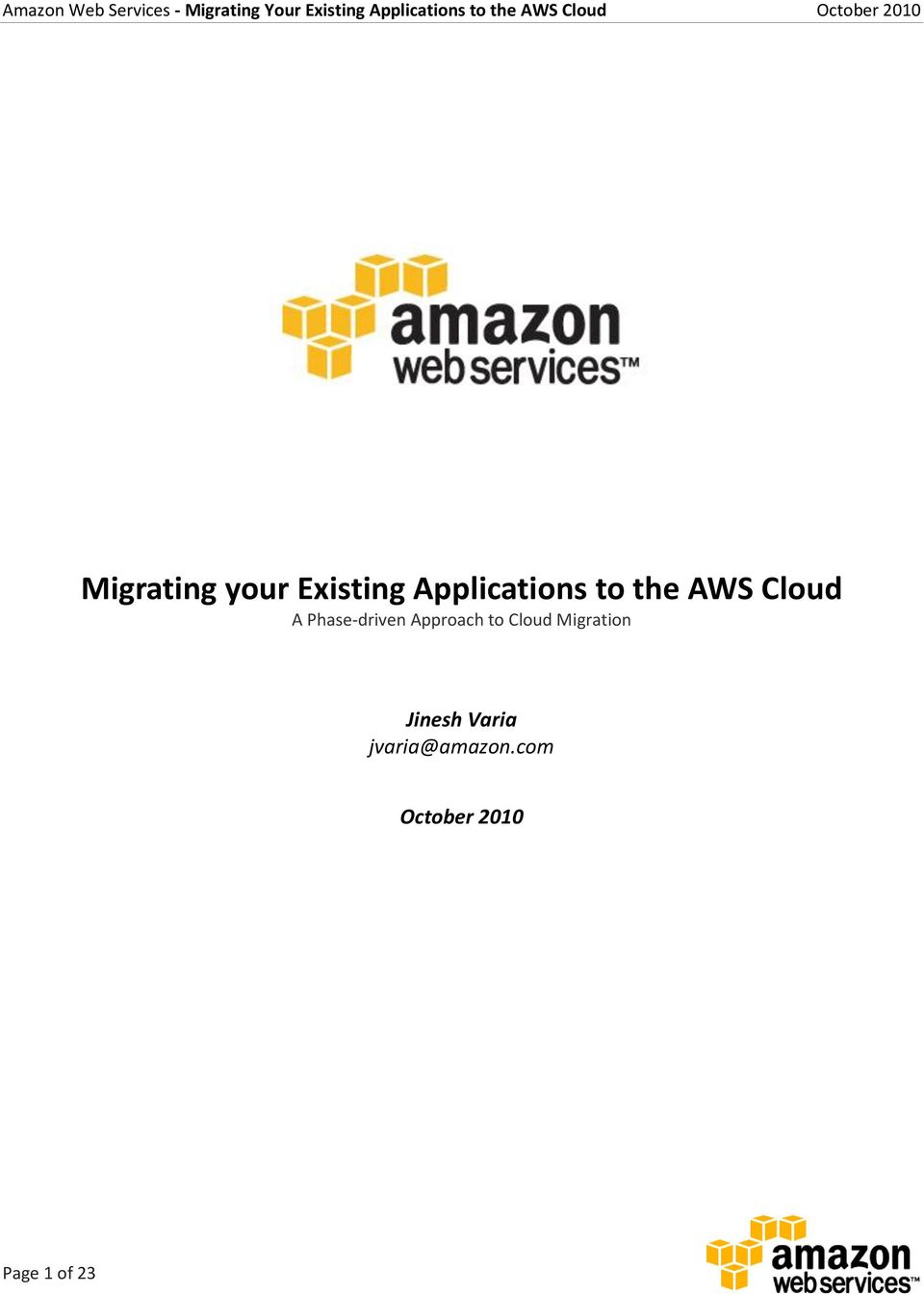 Approach to Cloud Migration Jinesh