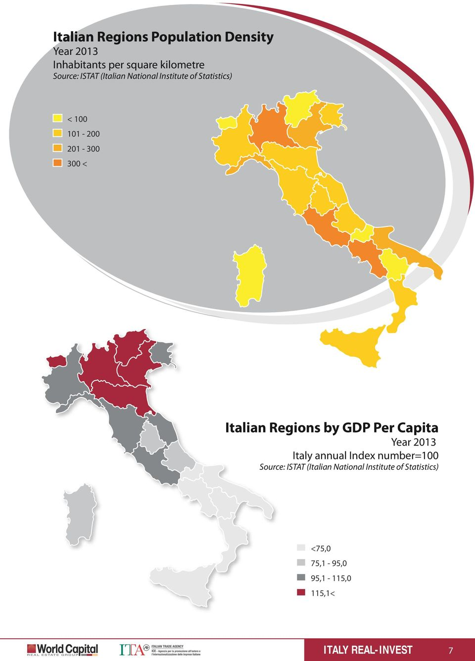 < Italian Regions by GDP Per Capita Year 2013 Italy annual Index number=100