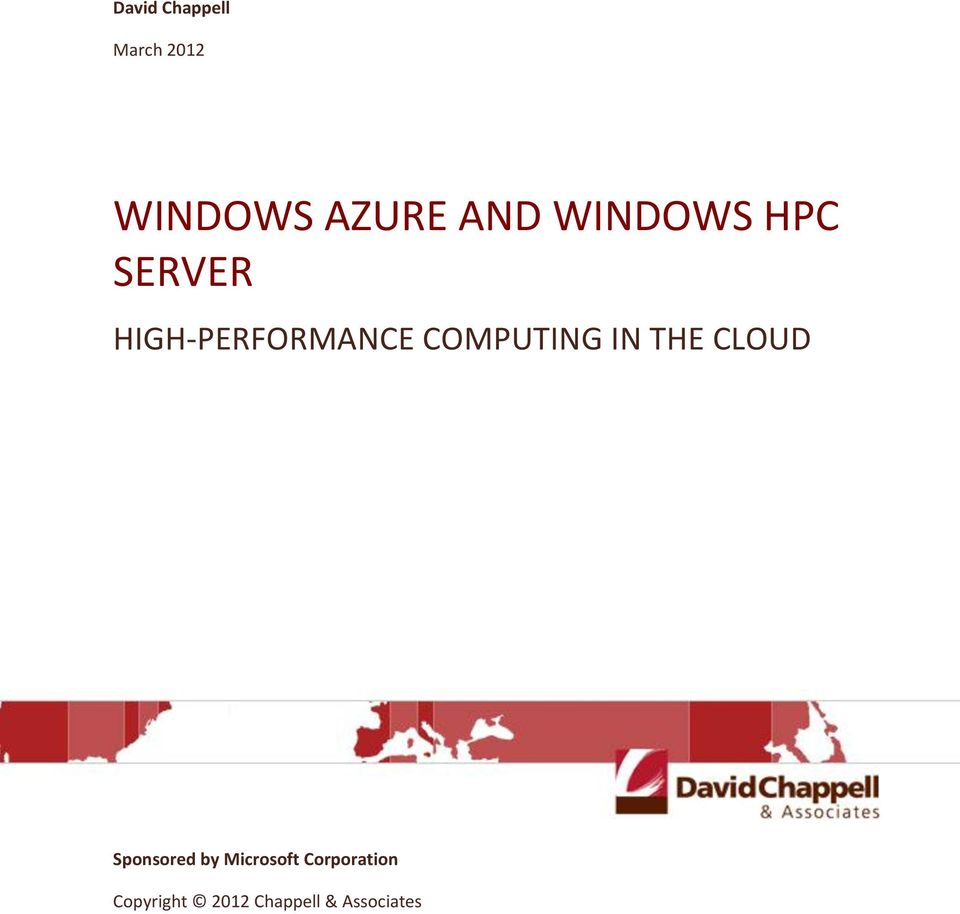 COMPUTING IN THE CLOUD Sponsored by