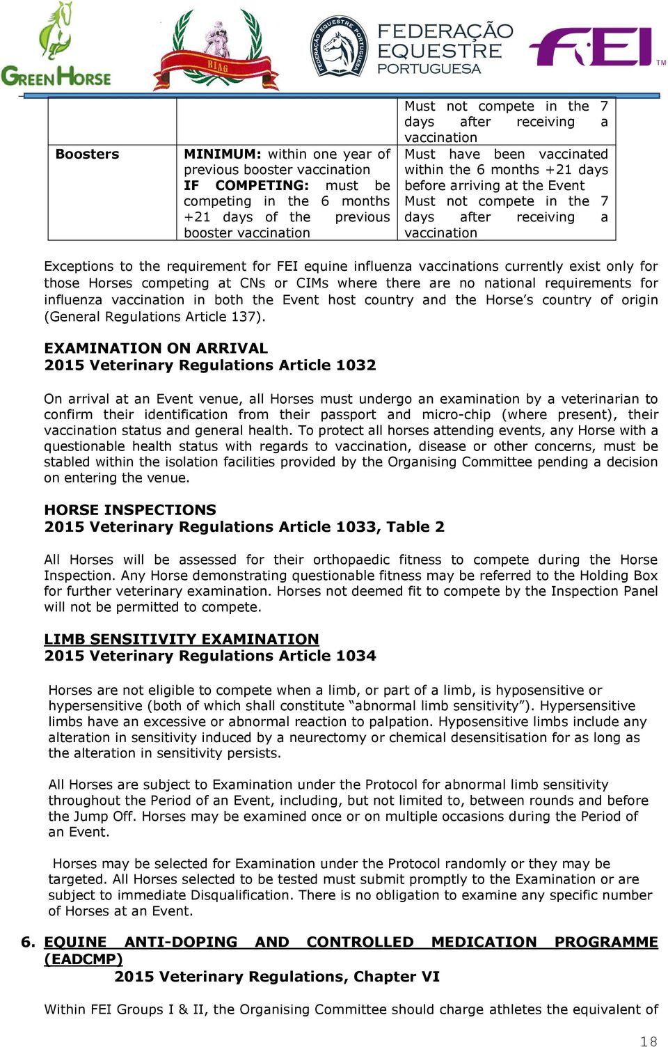 for FEI equine influenza vaccinations currently exist only for those Horses competing at CNs or CIMs where there are no national requirements for influenza vaccination in both the Event host country