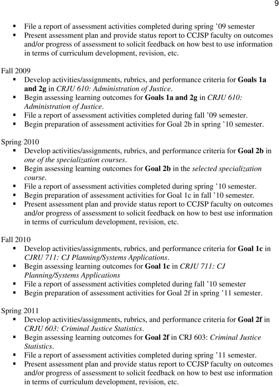 Fall 2009 Develop activities/assignments, rubrics, and performance criteria for Goals 1a and 2g in CRJU 610: Administration of Justice.