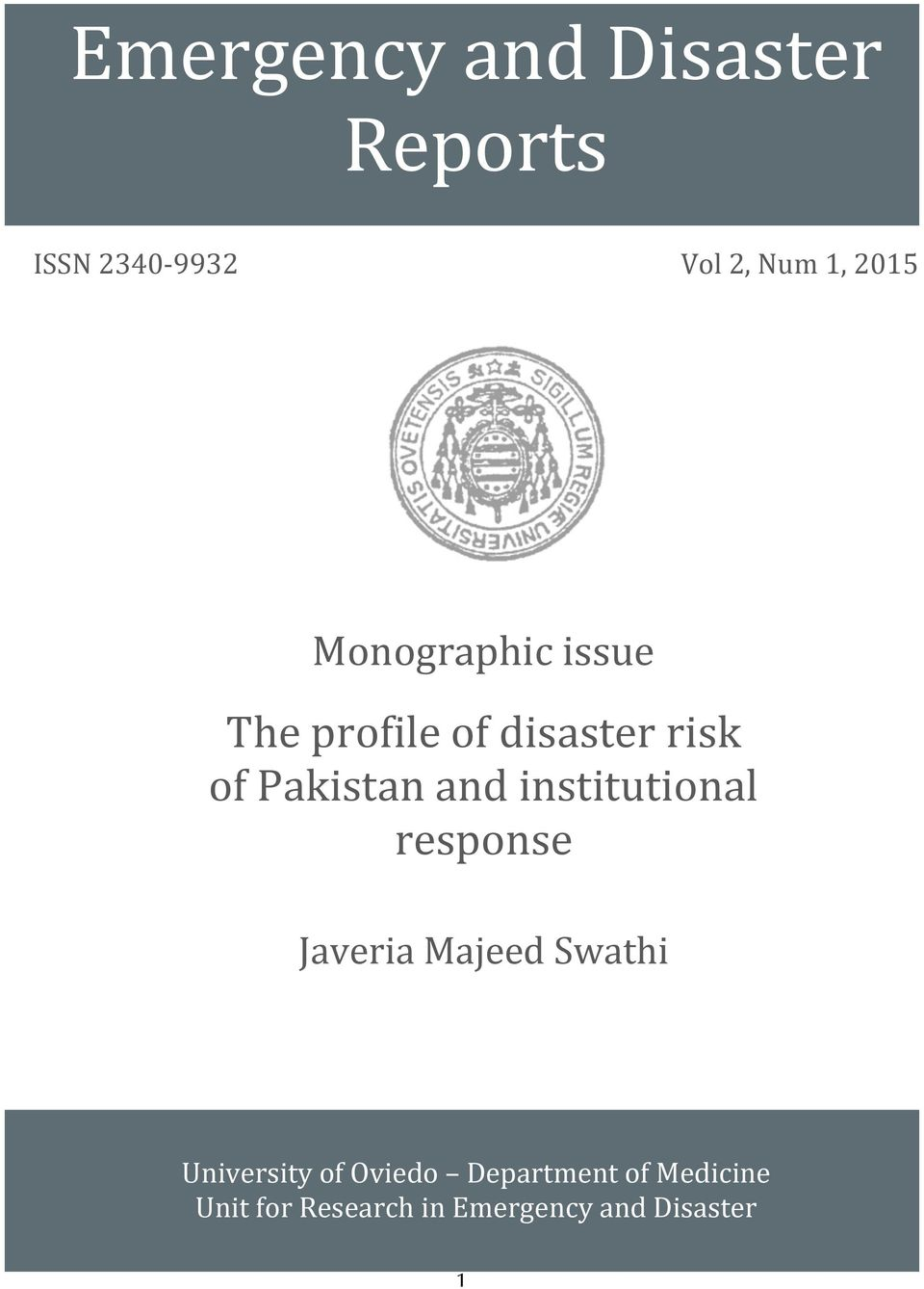 risk of Pakistan and institutional response Javeria Majeed Swathi University
