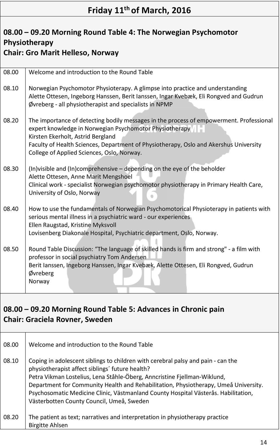 th international conference on physiotherapy in psychiatry and a glimpse into practice and understanding alette ottesen ingeborg hanssen berit ianssen ingar
