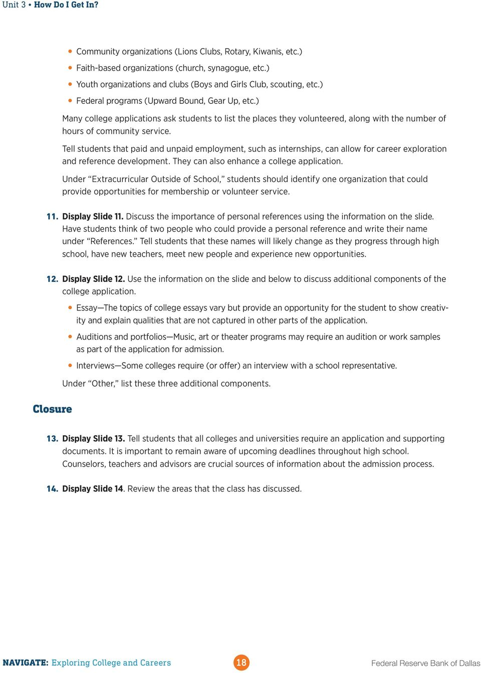 teacher handbook navigate exploring college and careers pdf many college applications ask students to list the places they volunteered along the
