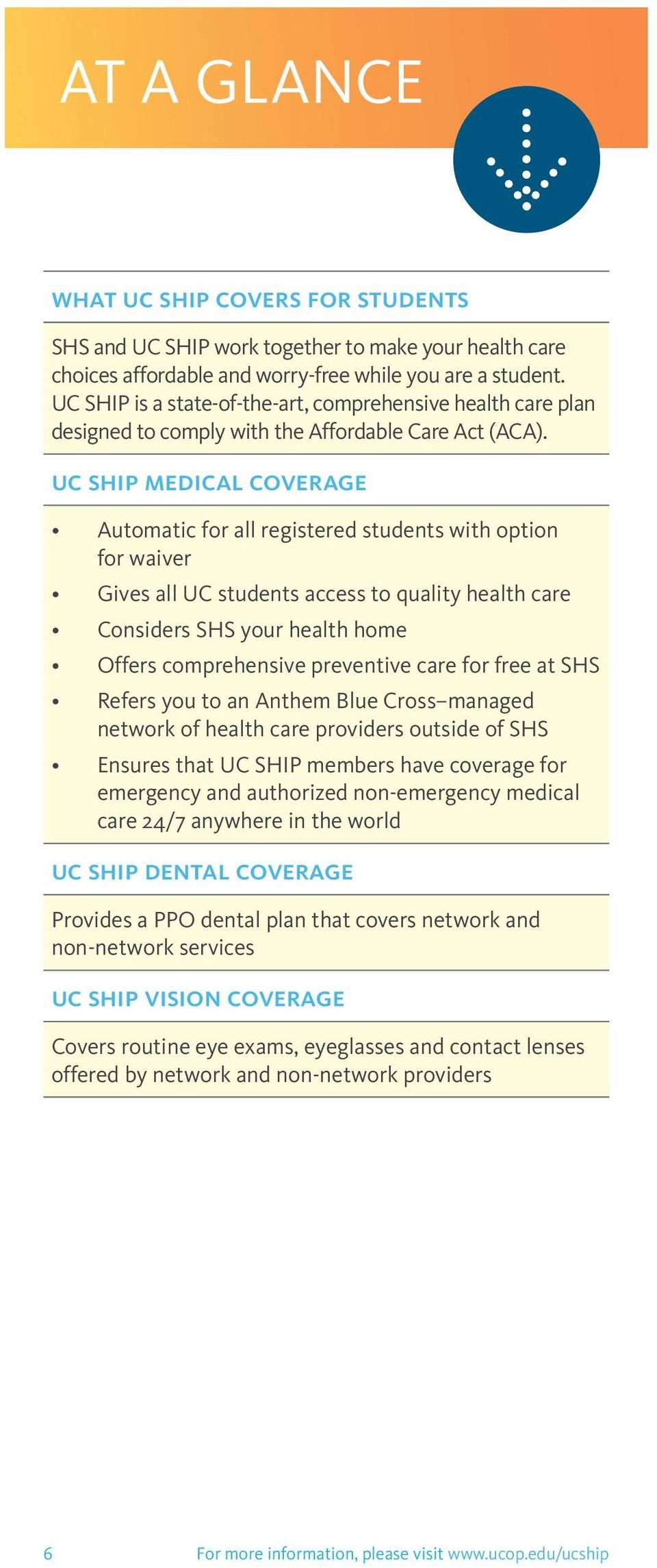 uc ship medical coverage Automatic for all registered students with option for waiver Gives all UC students access to quality health care Considers SHS your health home Offers comprehensive