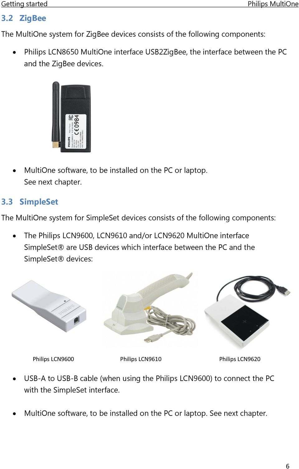 3 SimpleSet The MultiOne system for SimpleSet devices consists of the following components: The Philips LCN9600, LCN9610 and/or LCN9620 MultiOne interface SimpleSet are USB devices