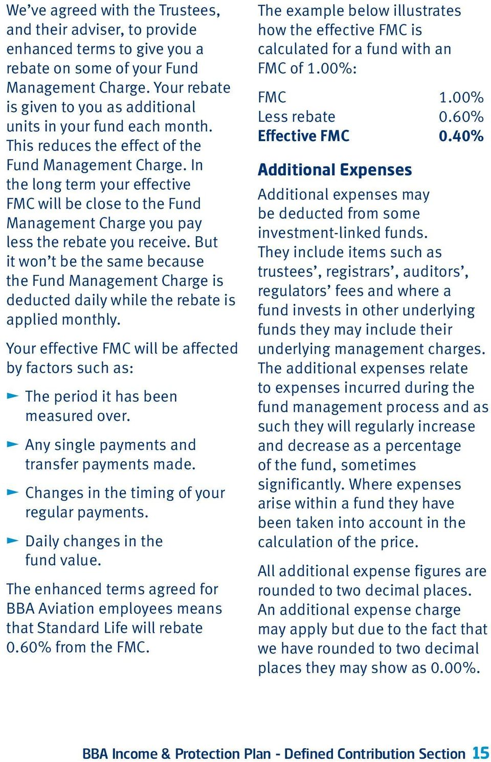 In the long term your effective FMC will be close to the Fund Management Charge you pay less the rebate you receive.