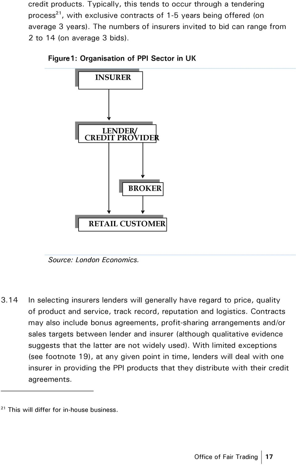 Figure1: Organisation of PPI Sector in UK INSURER LENDER/ CREDIT PROVIDER BROKER RETAIL CUSTOMER Source: London Economics. 3.
