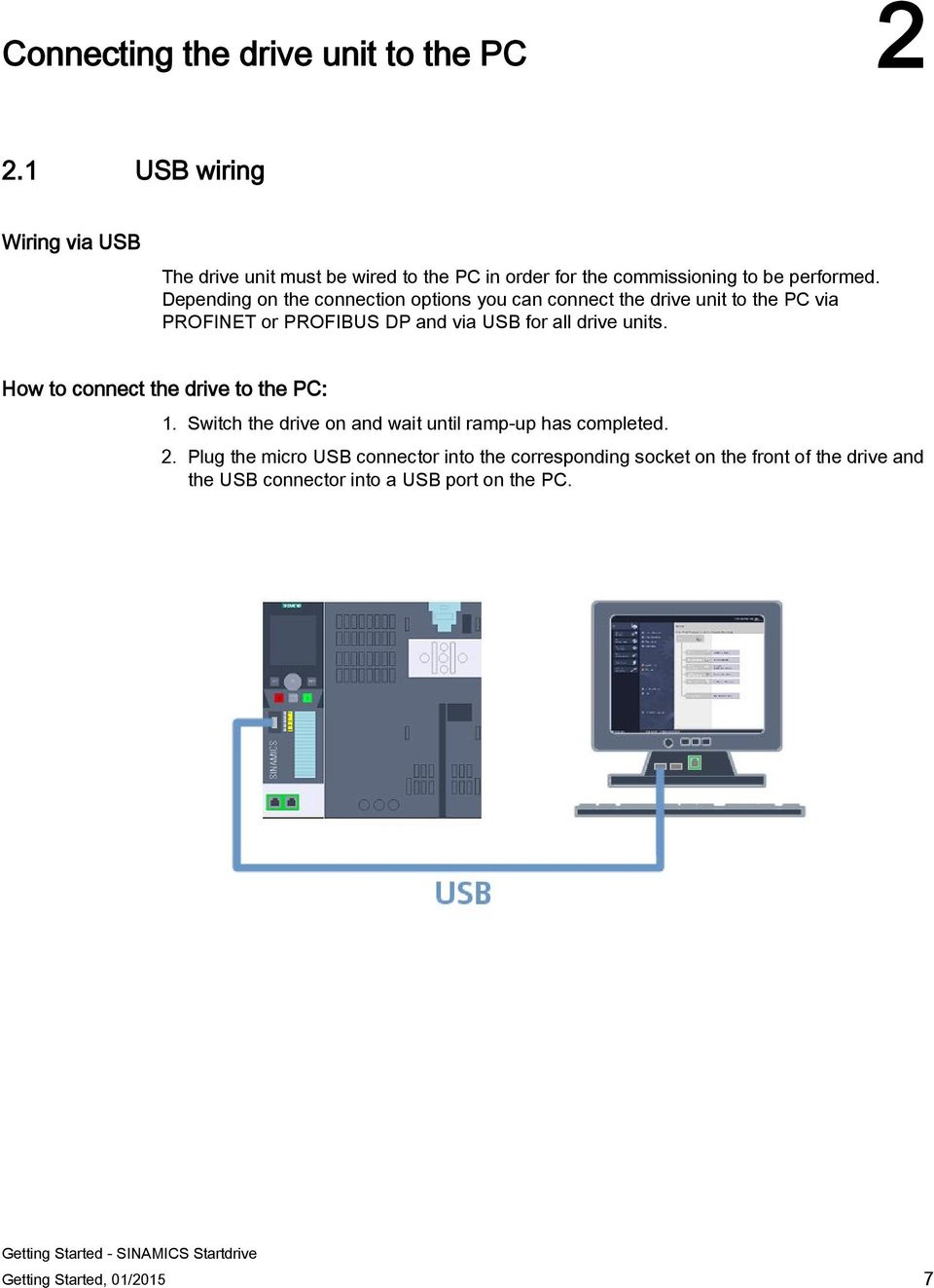 Depending on the connection options you can connect the drive unit to the PC via PROFINET or PROFIBUS DP and via USB for all drive units.