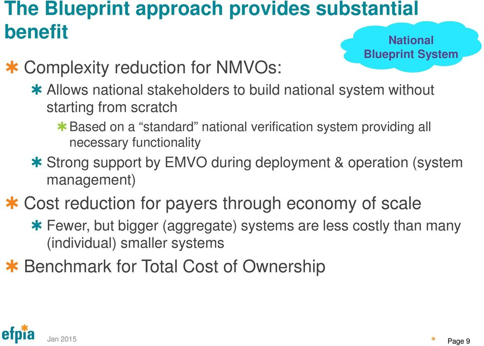 support by EMVO during deployment & operation (system management) Cost reduction for payers through economy of scale Fewer, but