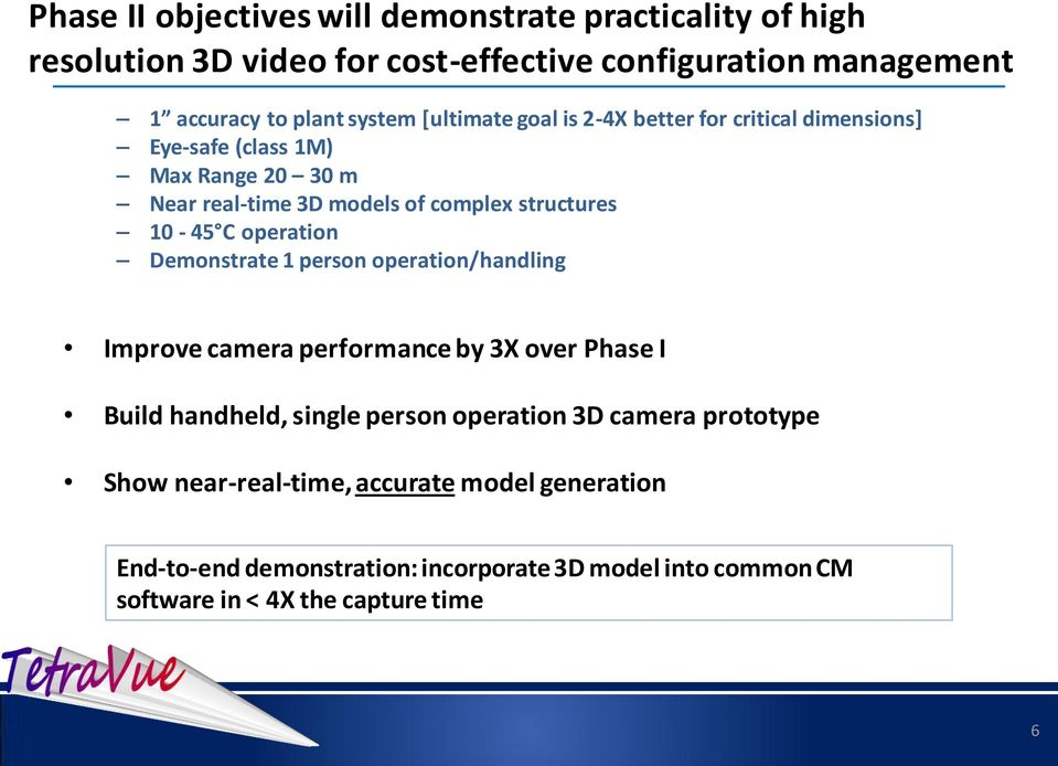 operation Demonstrate 1 person operation/handling Improve camera performance by 3X over Phase I Build handheld, single person operation 3D camera