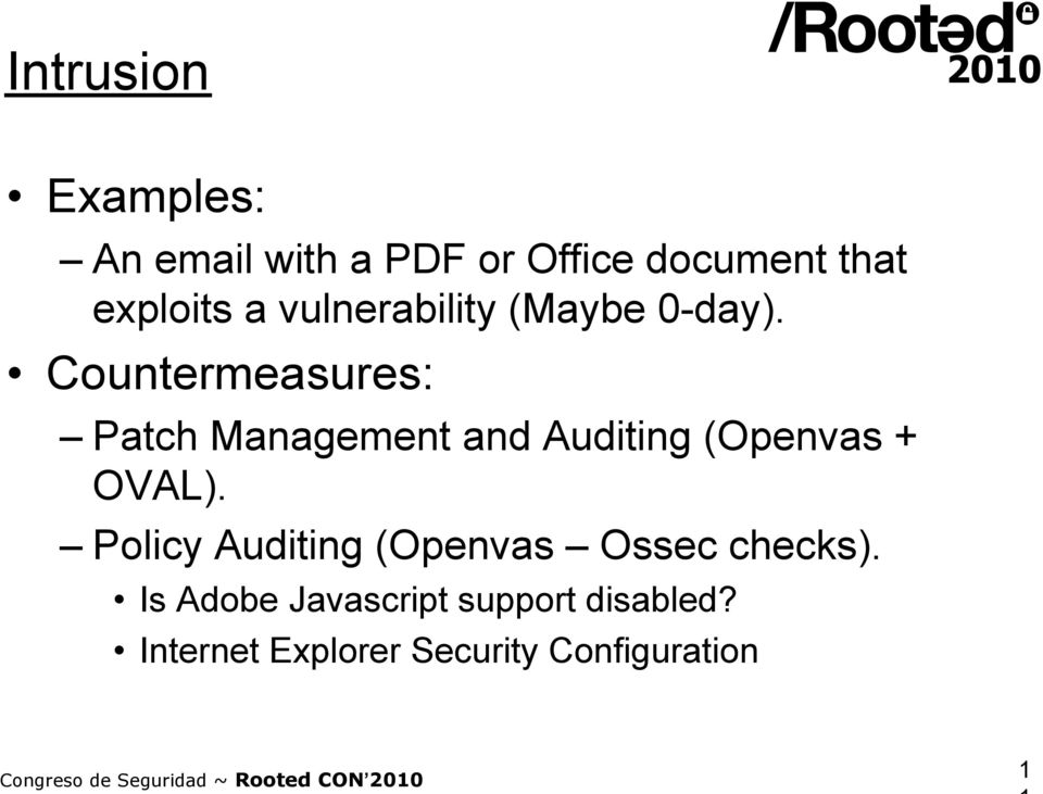 Countermeasures: Patch Management and Auditing (Openvas + OVAL).