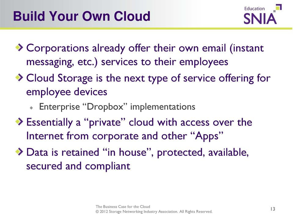 devices Enterprise Dropbox implementations Essentially a private cloud with access over the