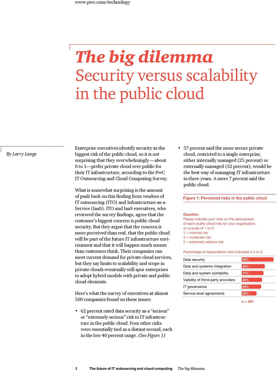 that they overwhelmingly about 8 to 1 prefer private cloud over public for their IT infrastructure, according to the PwC IT Outsourcing and Cloud Computing Survey.