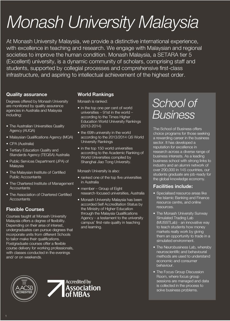 Monash Malaysia, a SETARA tier 5 (Excellent) university, is a dynamic community of scholars, comprising staff and students, supported by collegial processes and comprehensive first-class