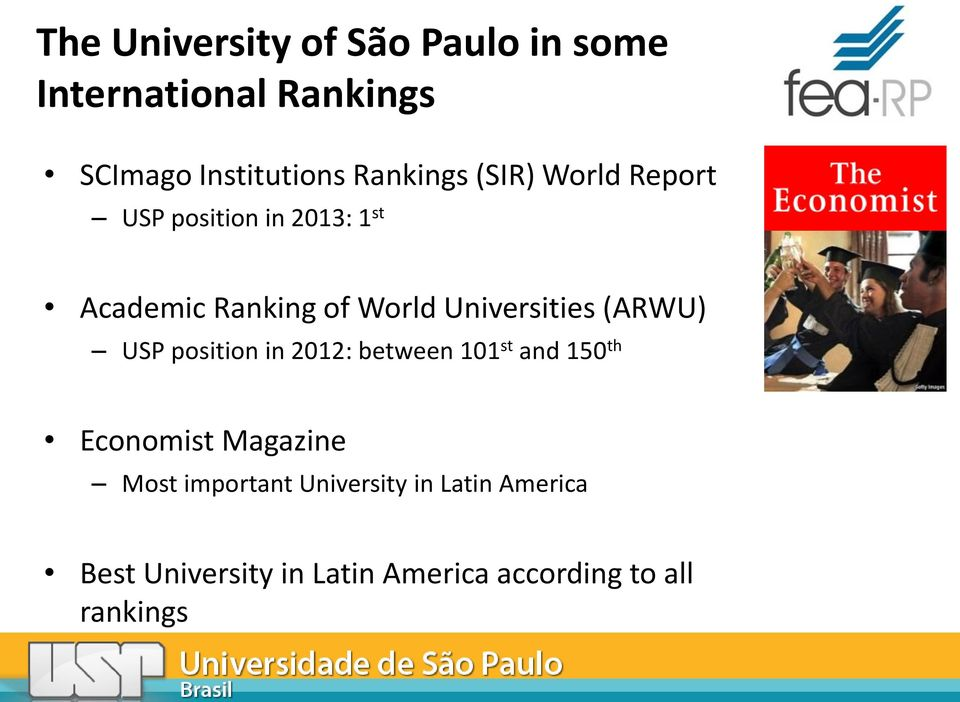 Universities (ARWU) USP position in 2012: between 101 st and 150 th Economist Magazine