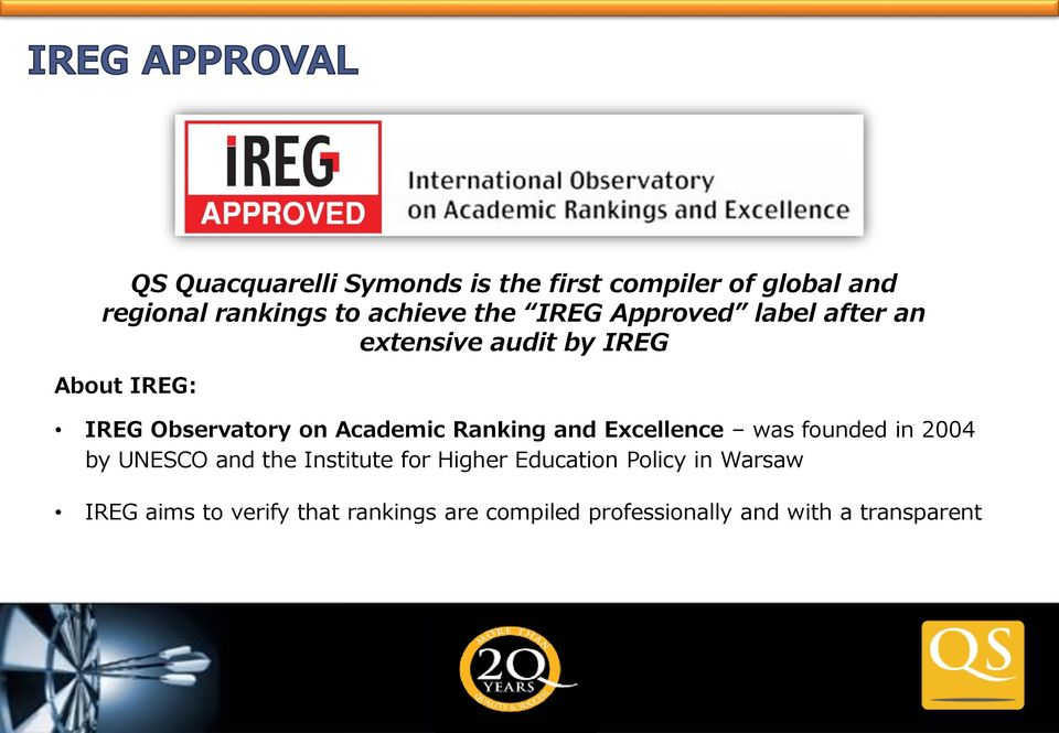 Ranking and Excellence was founded in 2004 by UNESCO and the Institute for Higher Education