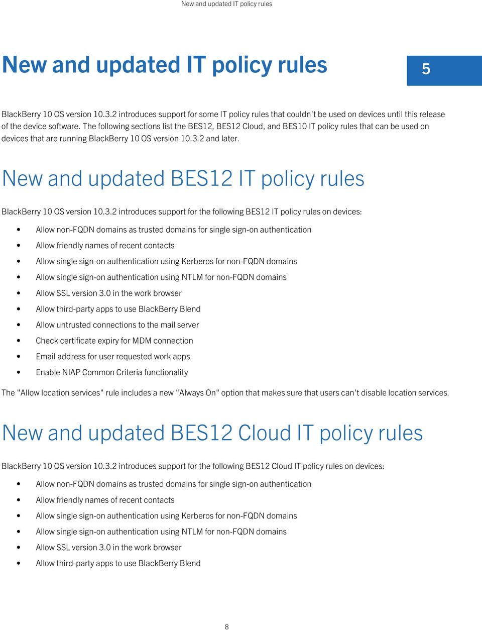 The following sections list the BES12, BES12 Cloud, and BES10 IT policy rules that can be used on devices that are running BlackBerry 10 OS version 10.3.2 and later.