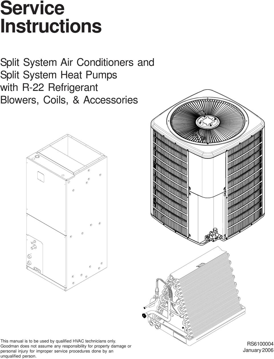 Service Instructions. Split System Air Conditioners and Split System ...