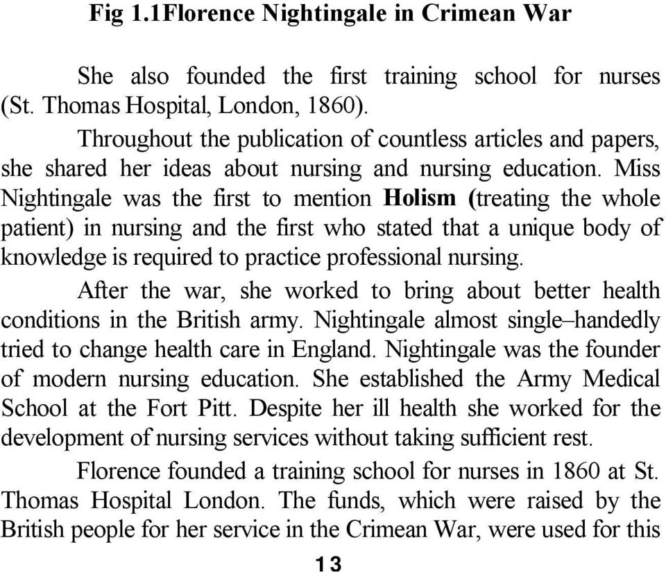 Miss Nightingale was the first to mention Holism (treating the whole patient) in nursing and the first who stated that a unique body of knowledge is required to practice professional nursing.