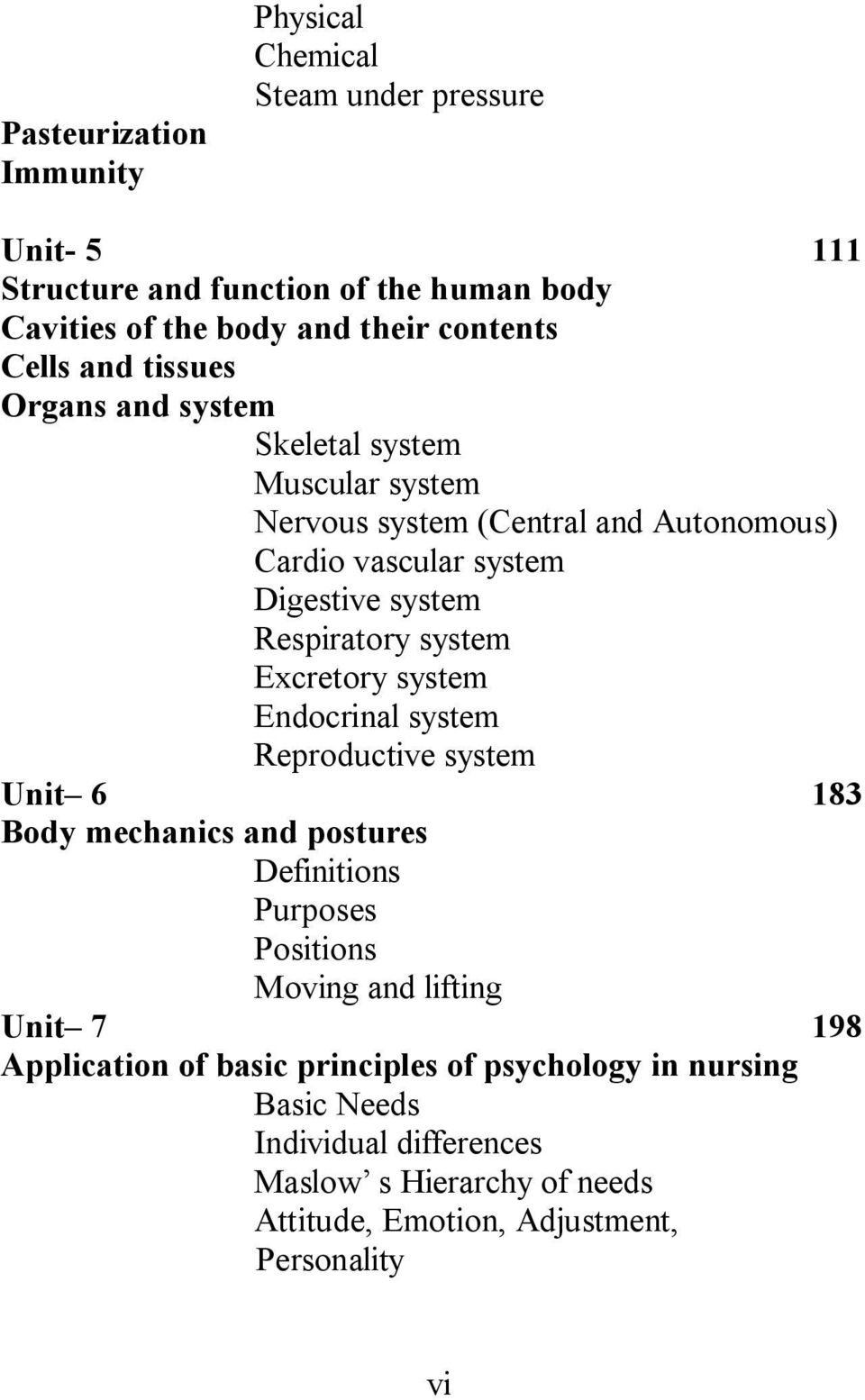 system Excretory system Endocrinal system Reproductive system Unit 6 183 Body mechanics and postures Definitions Purposes Positions Moving and lifting Unit 7