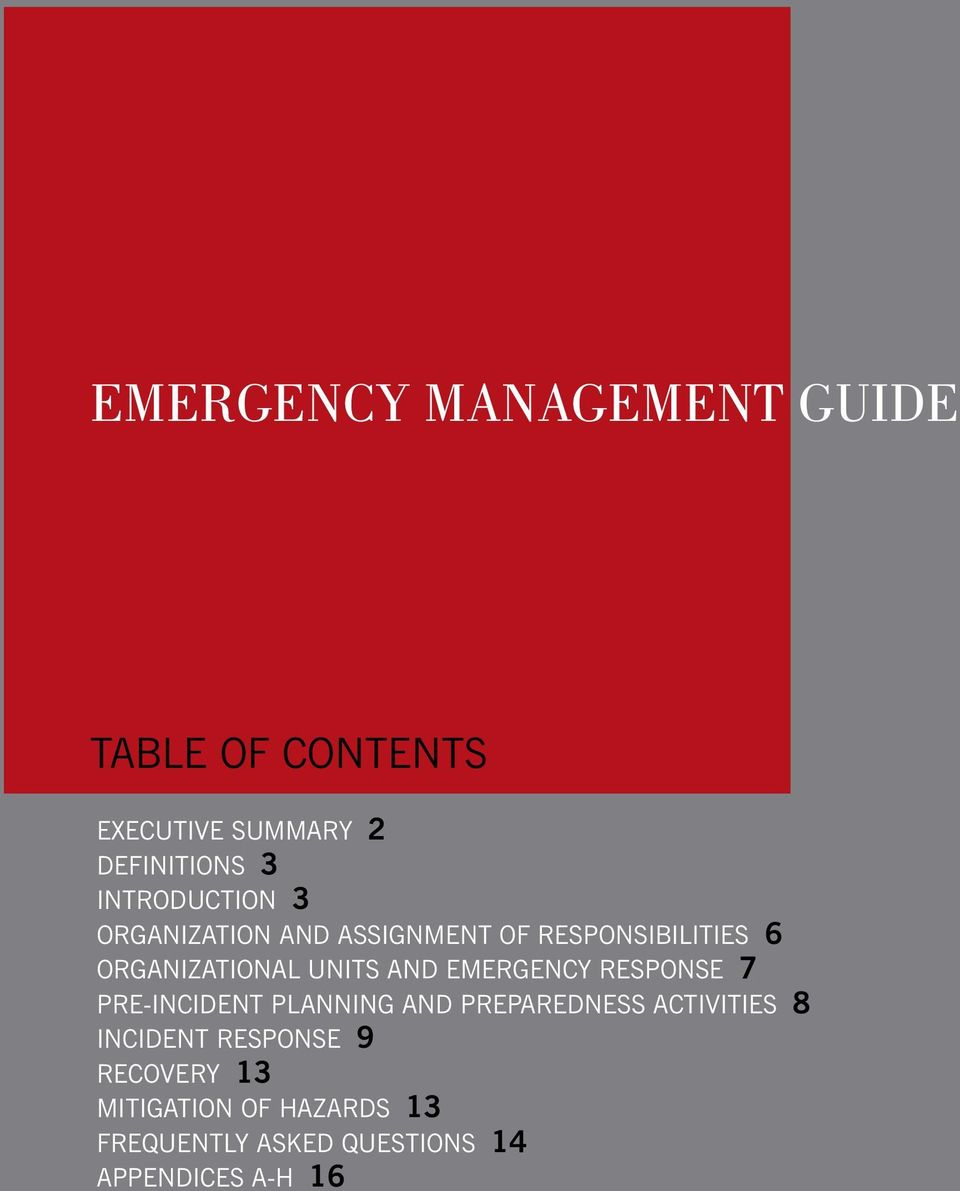 AND EMERGENCY RESPONSE 7 PRE-INCIDENT PLANNING AND PREPAREDNESS ACTIVITIES 8 INCIDENT