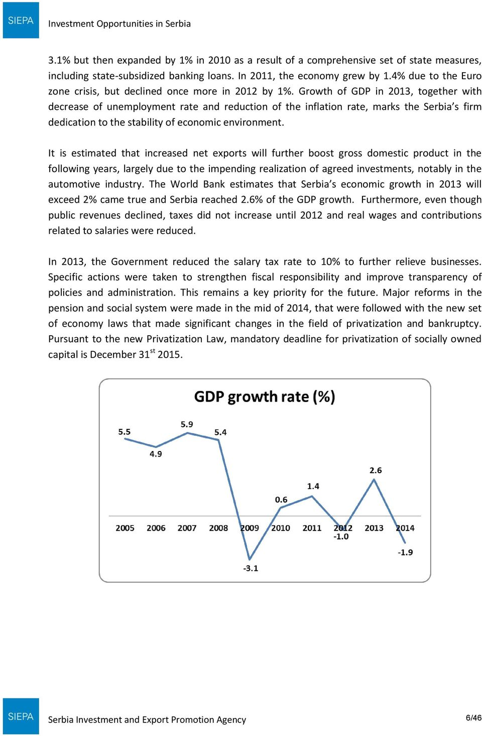 Growth of GDP in 2013, together with decrease of unemployment rate and reduction of the inflation rate, marks the Serbia s firm dedication to the stability of economic environment.