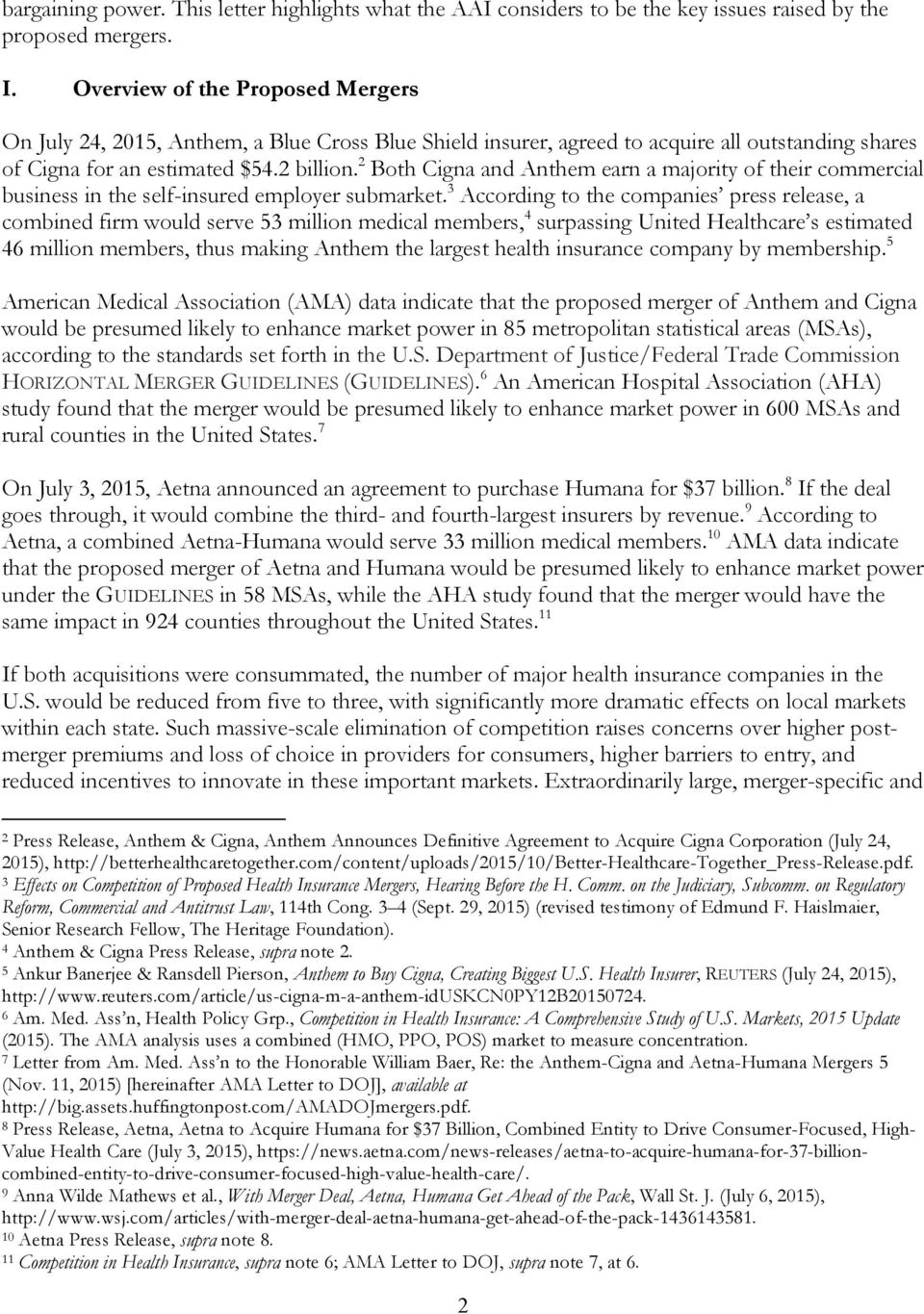 January 11, Re: Antitrust Review of the Aetna-Humana and