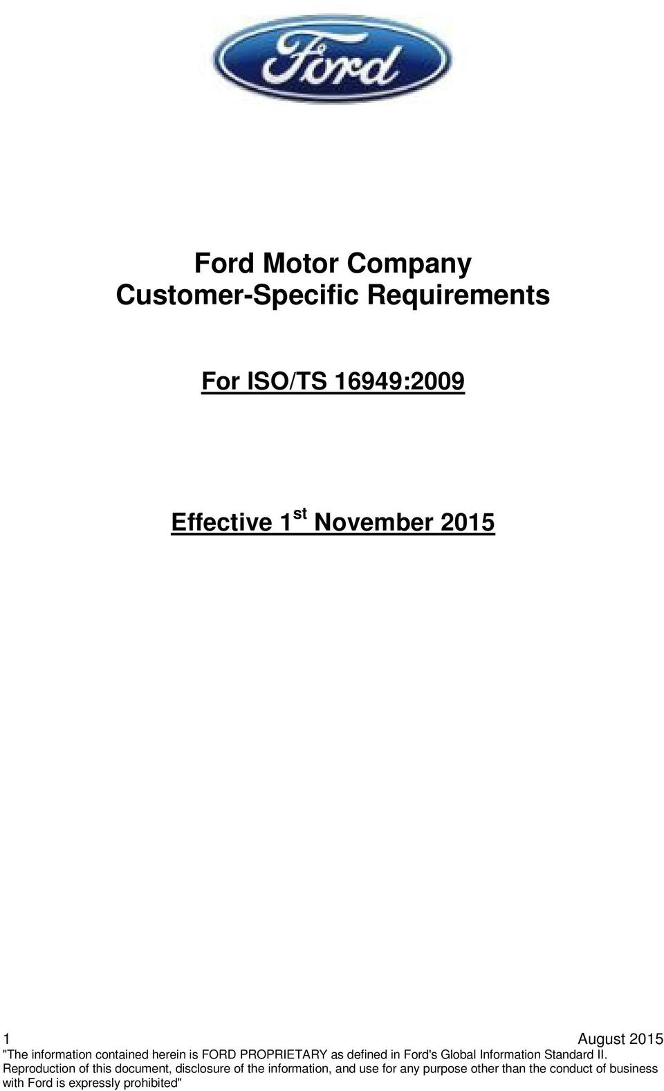 Ford motor company customer specific requirements pdf for Ford motor company customer service