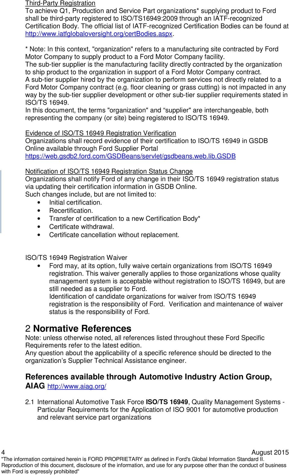 Ford Motor Company Customer Specific Requirements Pdf