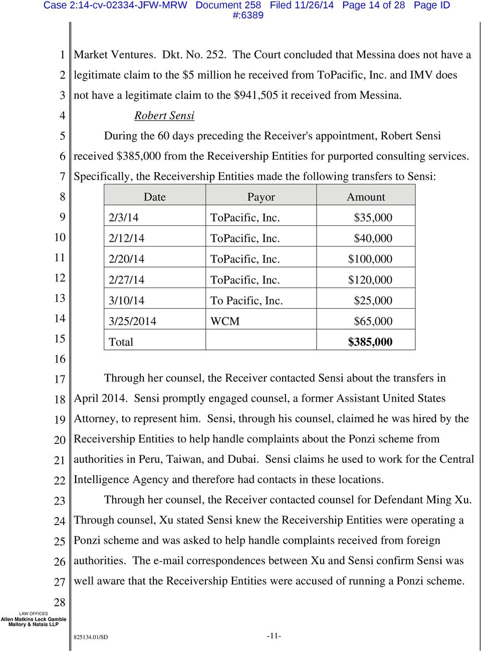 Robert Sensi During the 0 days preceding the Receiver's appointment, Robert Sensi received $,000 from the Receivership Entities for purported consulting services.