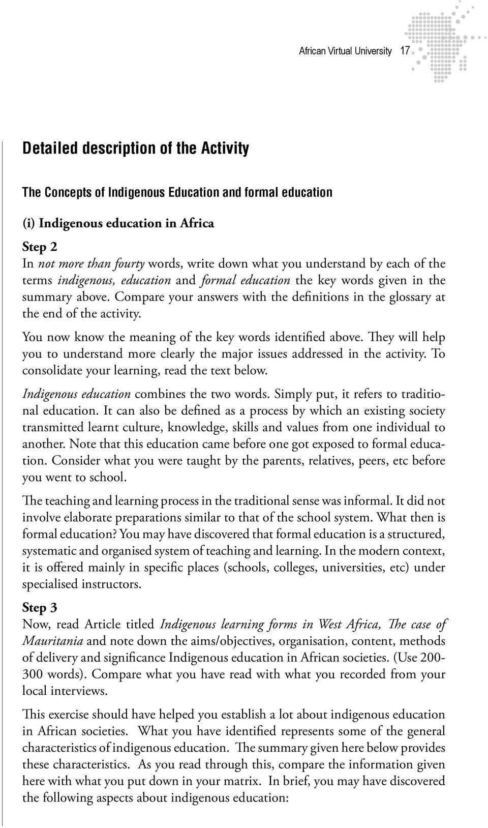 history of education prepared by ssemanda enosi african virtual compare your answers the definitions in the glossary at the end of the activity
