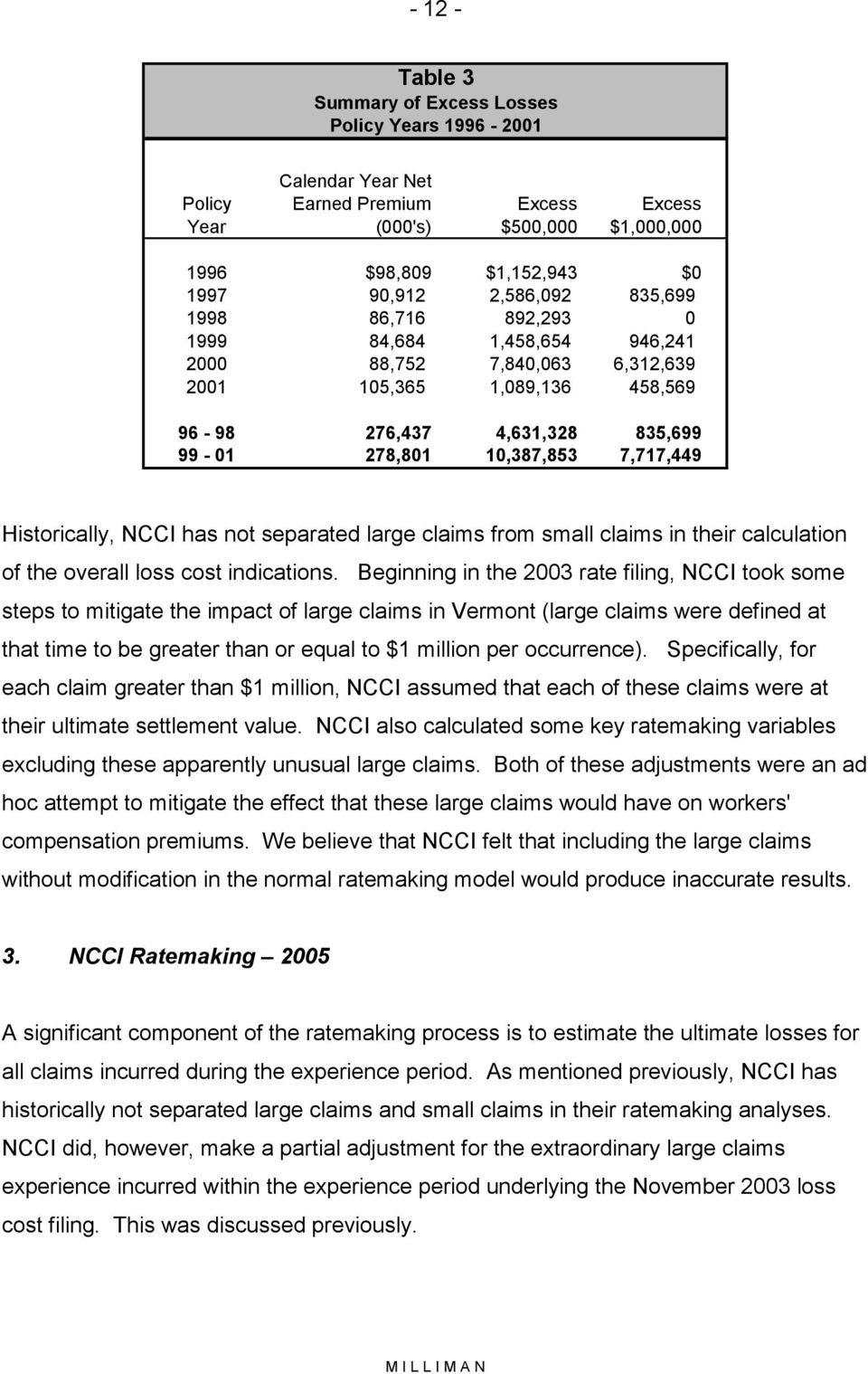 Historically, NCCI has not separated large claims from small claims in their calculation of the overall loss cost indications.