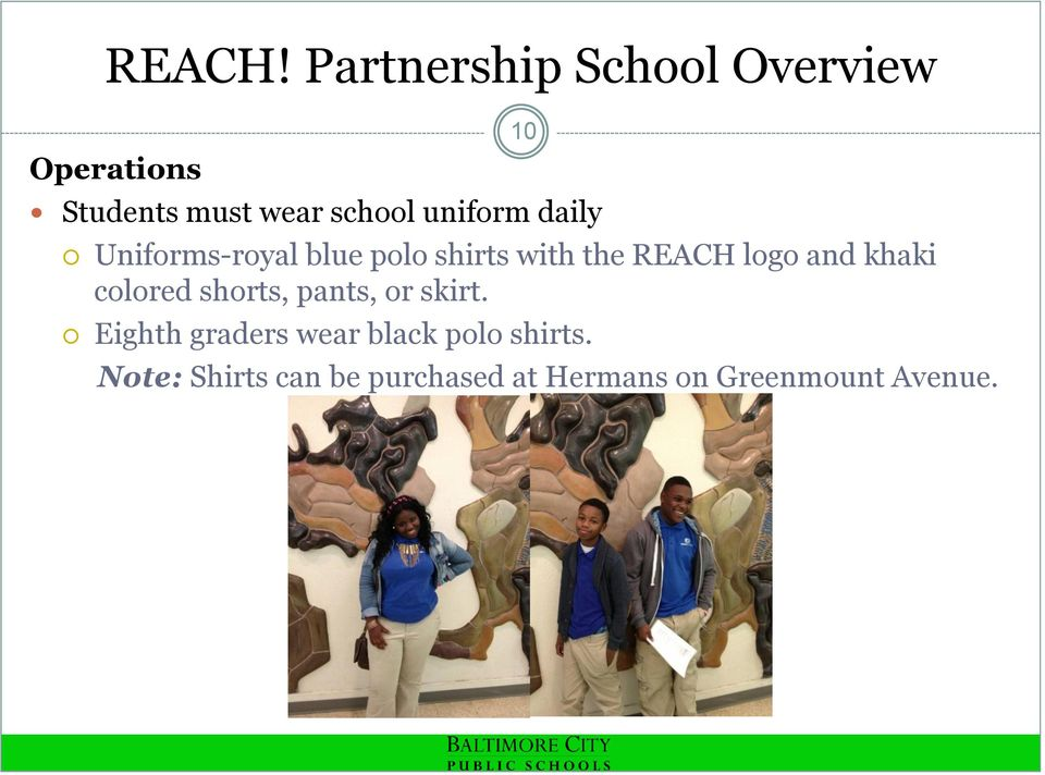 uniform daily Uniforms-royal blue polo shirts with the REACH logo and