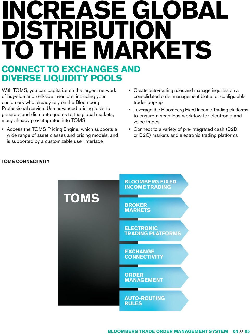 Access the TOMS Pricing Engine, which supports a wide range of asset classes and pricing models, and is supported by a customizable user interface Create auto-routing rules and manage inquiries on a