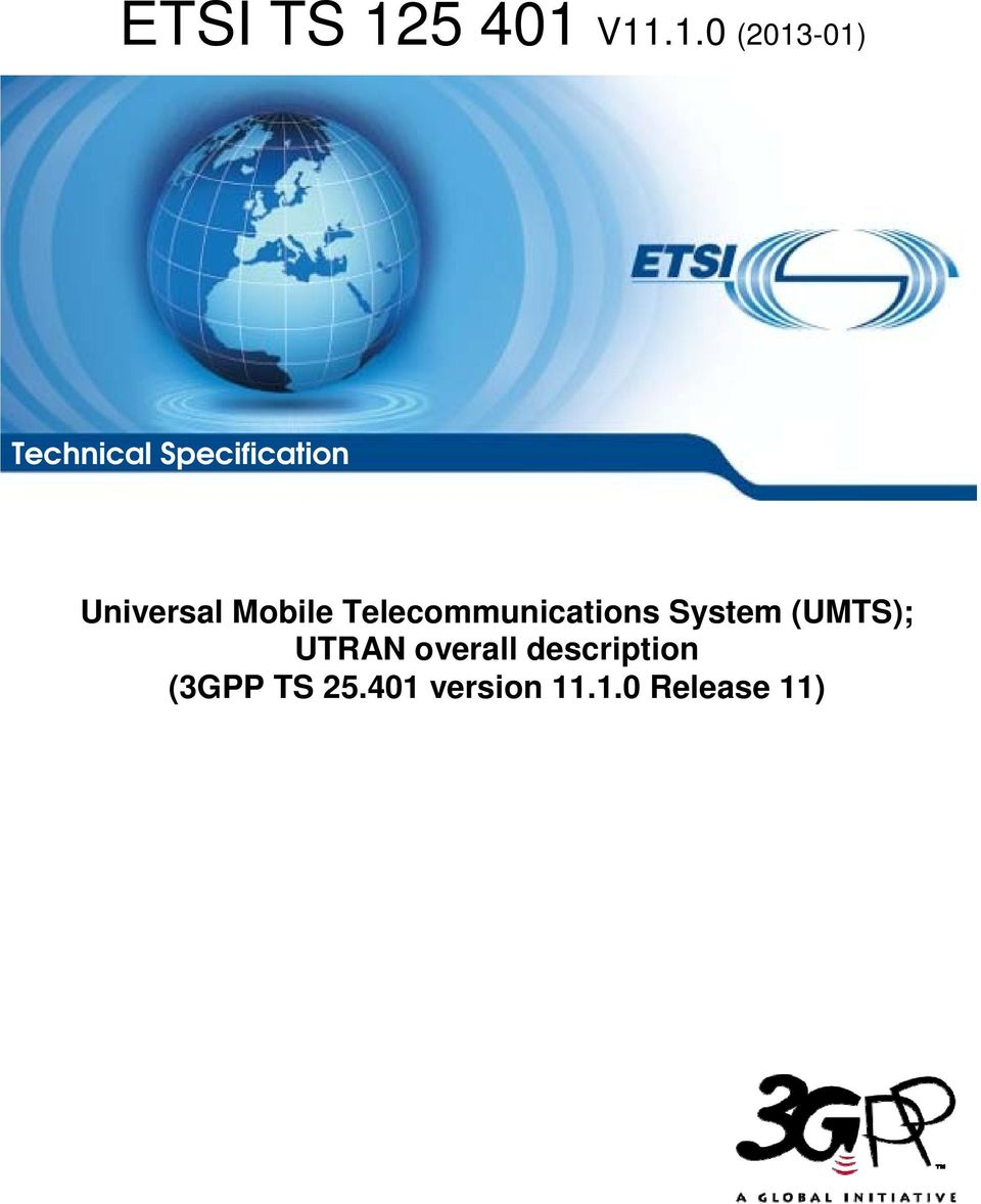 Technical Specification Universal Mobile Telecommunications