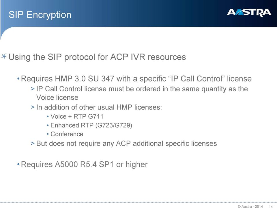 quantity as the Voice license > In addition of other usual HMP licenses: Voice + RTP G711 Enhanced RTP
