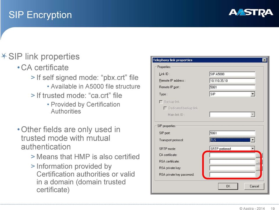 crt file Provided by Certification Authorities Other fields are only used in trusted mode with mutual