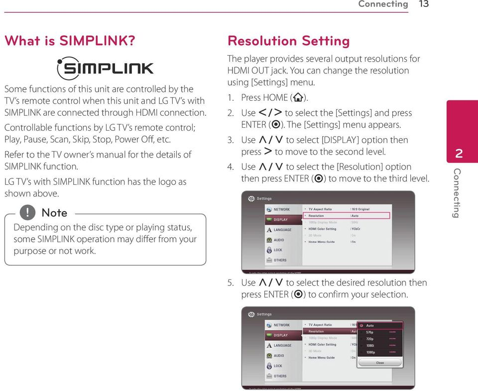 LG TV s with SIMPLINK function has the logo as shown above. Depending on the disc type or playing status, some SIMPLINK operation may differ from your purpose or not work.