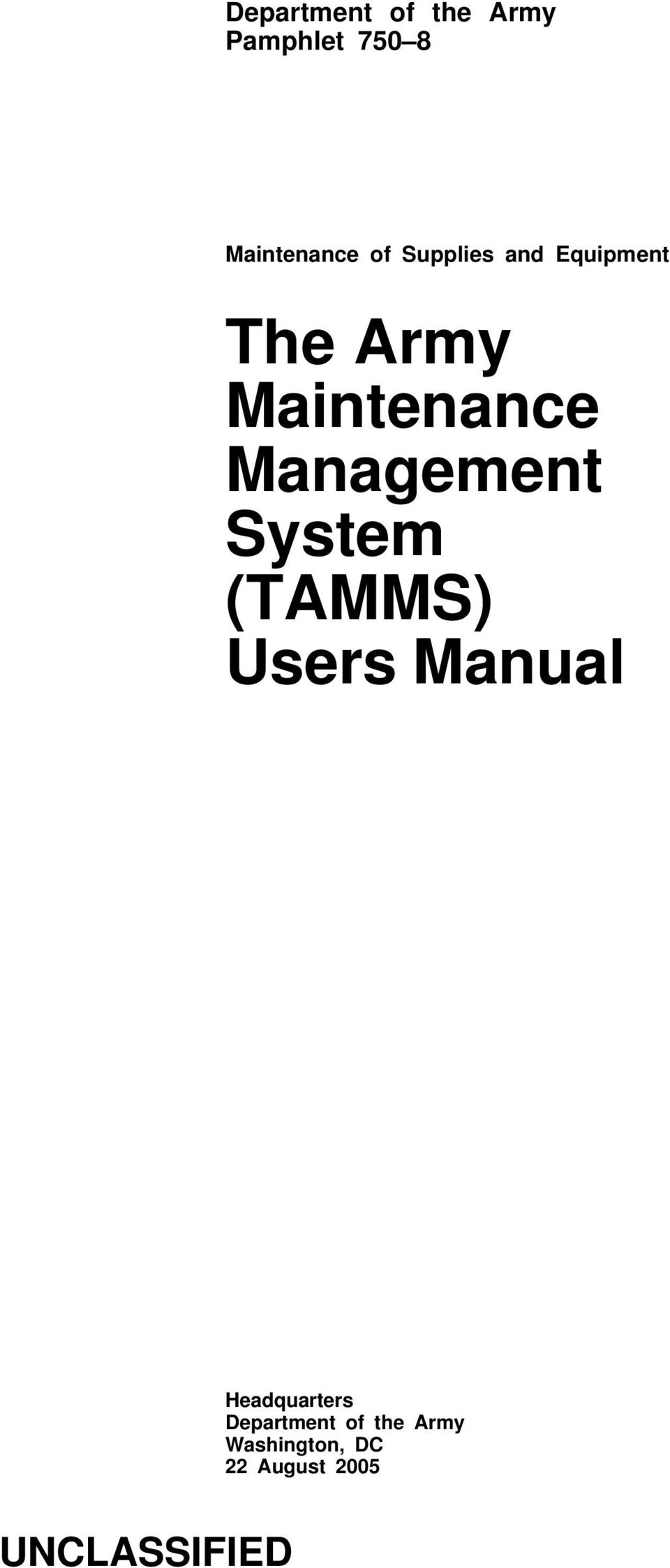Management System (TAMMS) Users Manual Headquarters