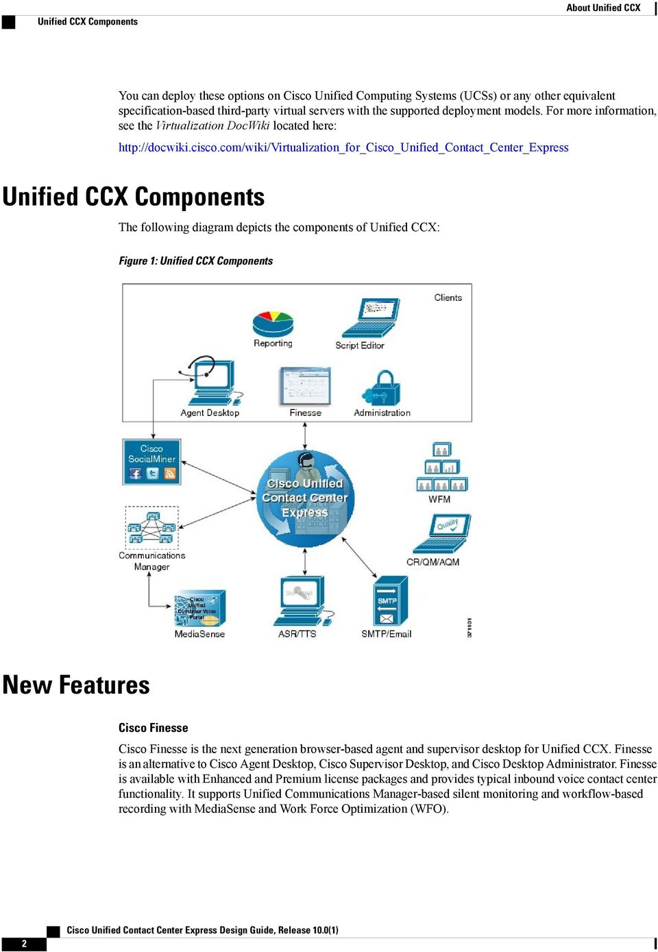 com/wiki/virtualization_for_cisco_unified_contact_center_express Unified CCX Components The following diagram depicts the components of Unified CCX: Figure 1: Unified CCX Components New Features