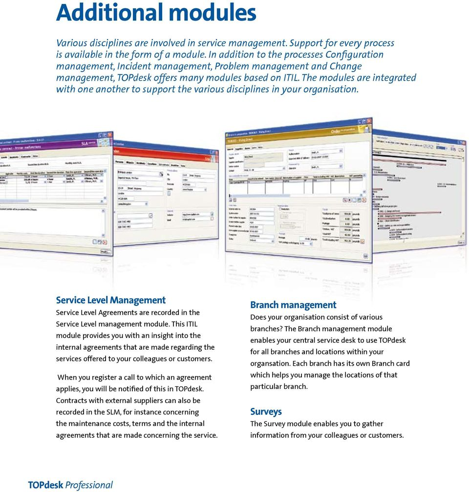 The modules are integrated with one another to support the various disciplines in your organisation.