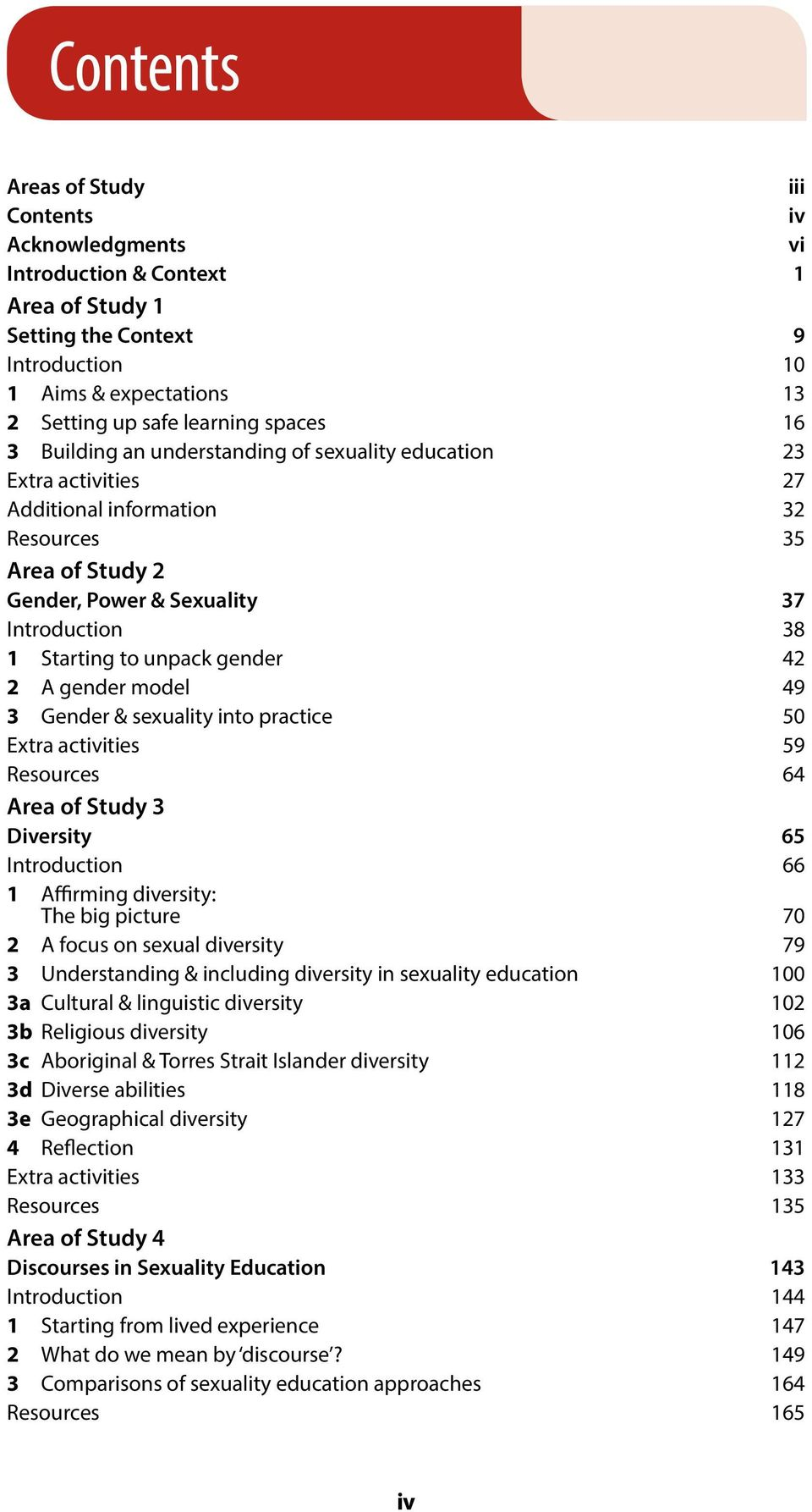 gender 42 2 A gender model 49 3 Gender & sexuality into practice 50 Extra activities 59 Resources 64 Area of Study 3 Diversity 65 Introduction 66 1 Affirming diversity: The big picture 70 2 A focus