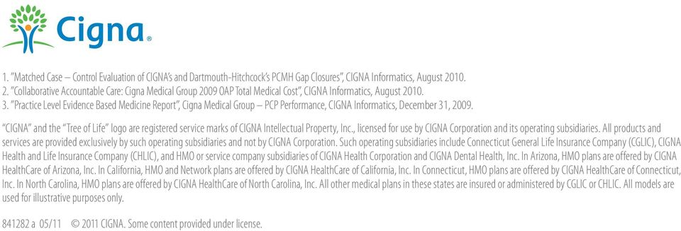 Practice Level Evidence Based Medicine Report, Cigna Medical Group PCP Performance, CIGNA Informatics, December 31, 2009.