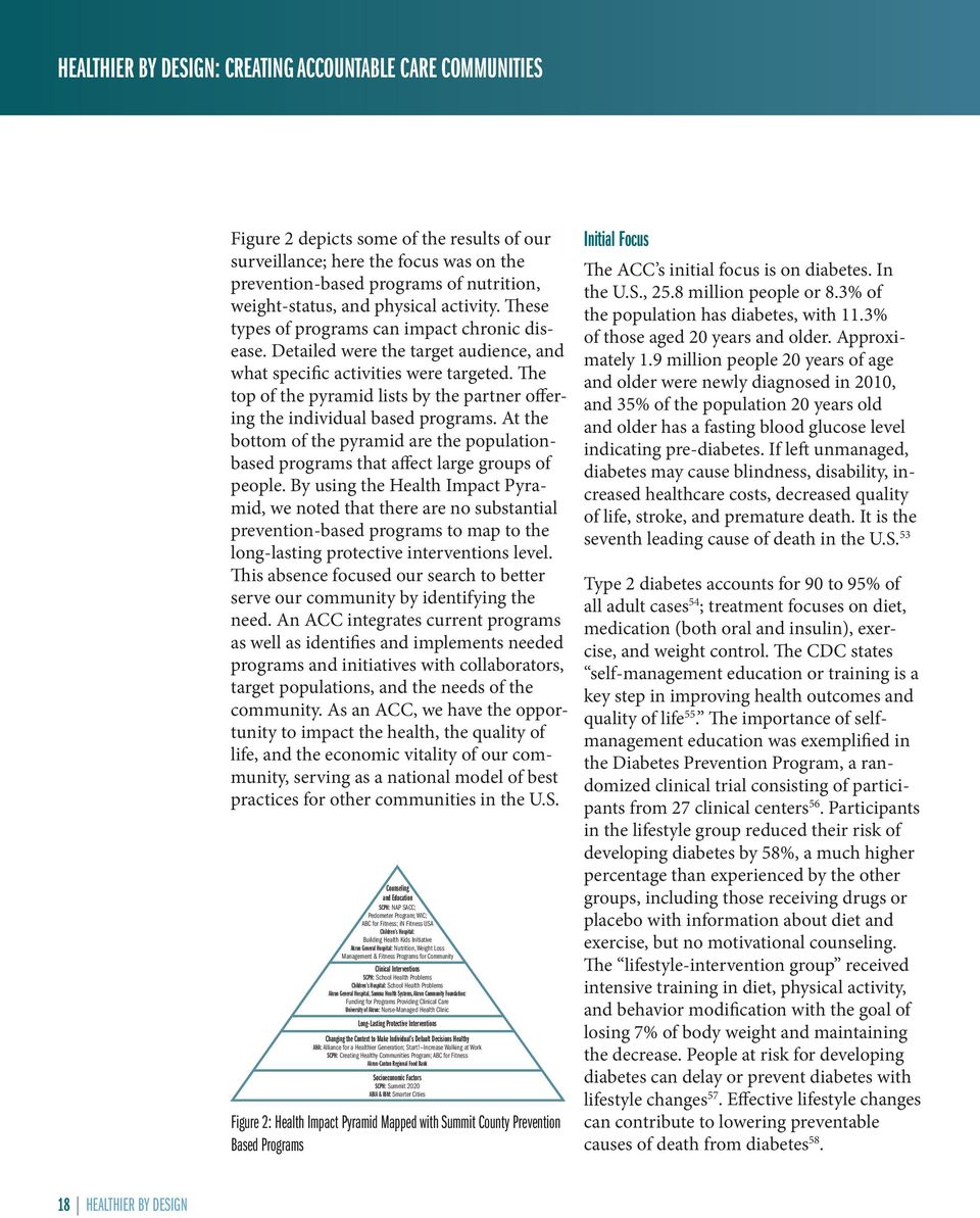 The top of the pyramid lists by the partner offering the individual based programs. At the bottom of the pyramid are the populationbased programs that affect large groups of people.