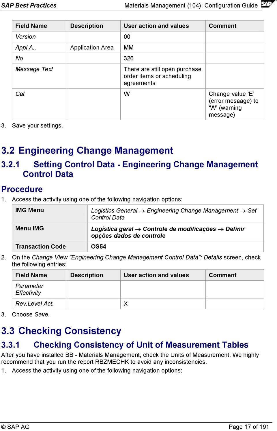 2.1 Setting Control Data - Engineering Change Management Control Data 1.