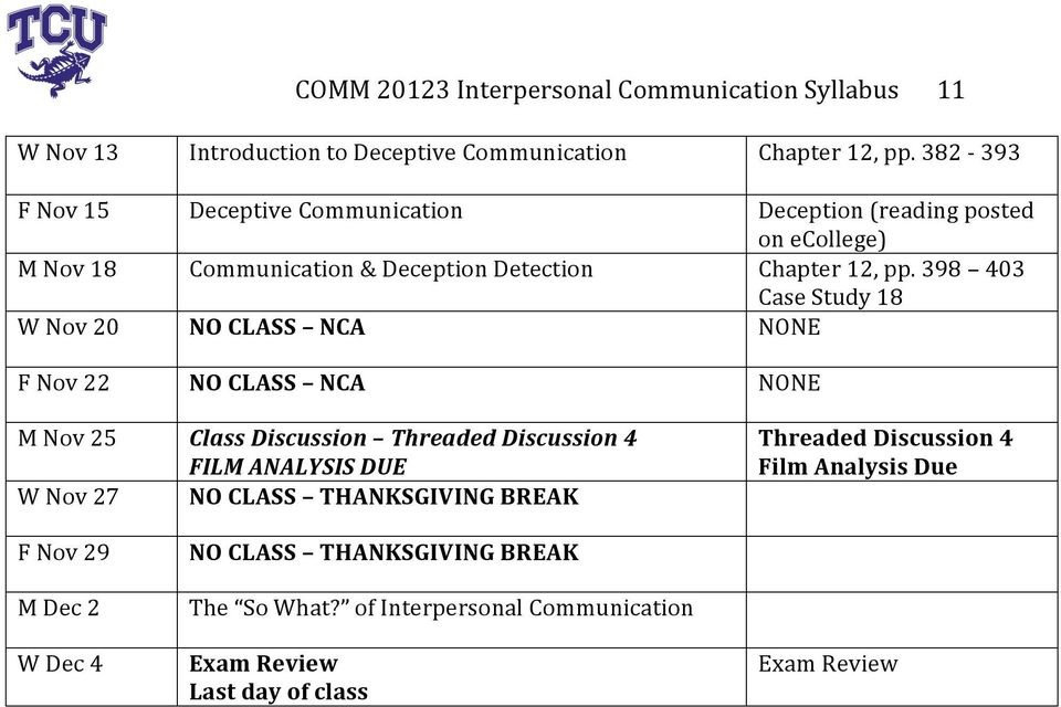 398 403 Case Study 18 W Nov 20 NO CLASS NCA NONE F Nov 22 NO CLASS NCA NONE M Nov 25 W Nov 27 F Nov 29 M Dec 2 W Dec 4 Class Discussion Threaded