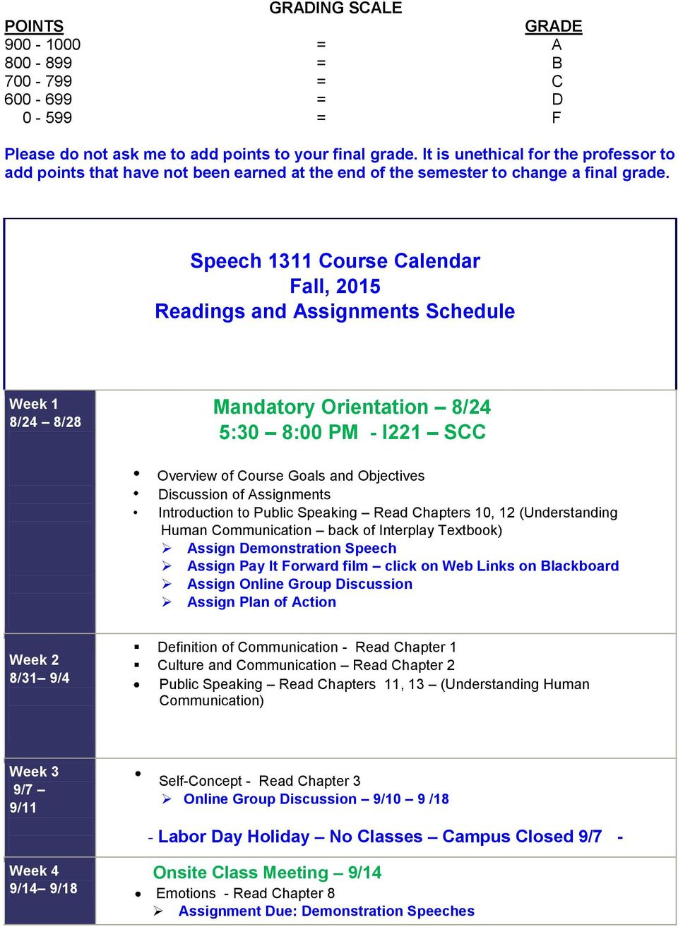 Speech 1311 Course Calendar Fall, 2015 Readings and Assignments Schedule Week 1 8/24 8/28 Mandatory Orientation 8/24 5:30 8:00 PM - I221 SCC Overview of Course Goals and Objectives Discussion of