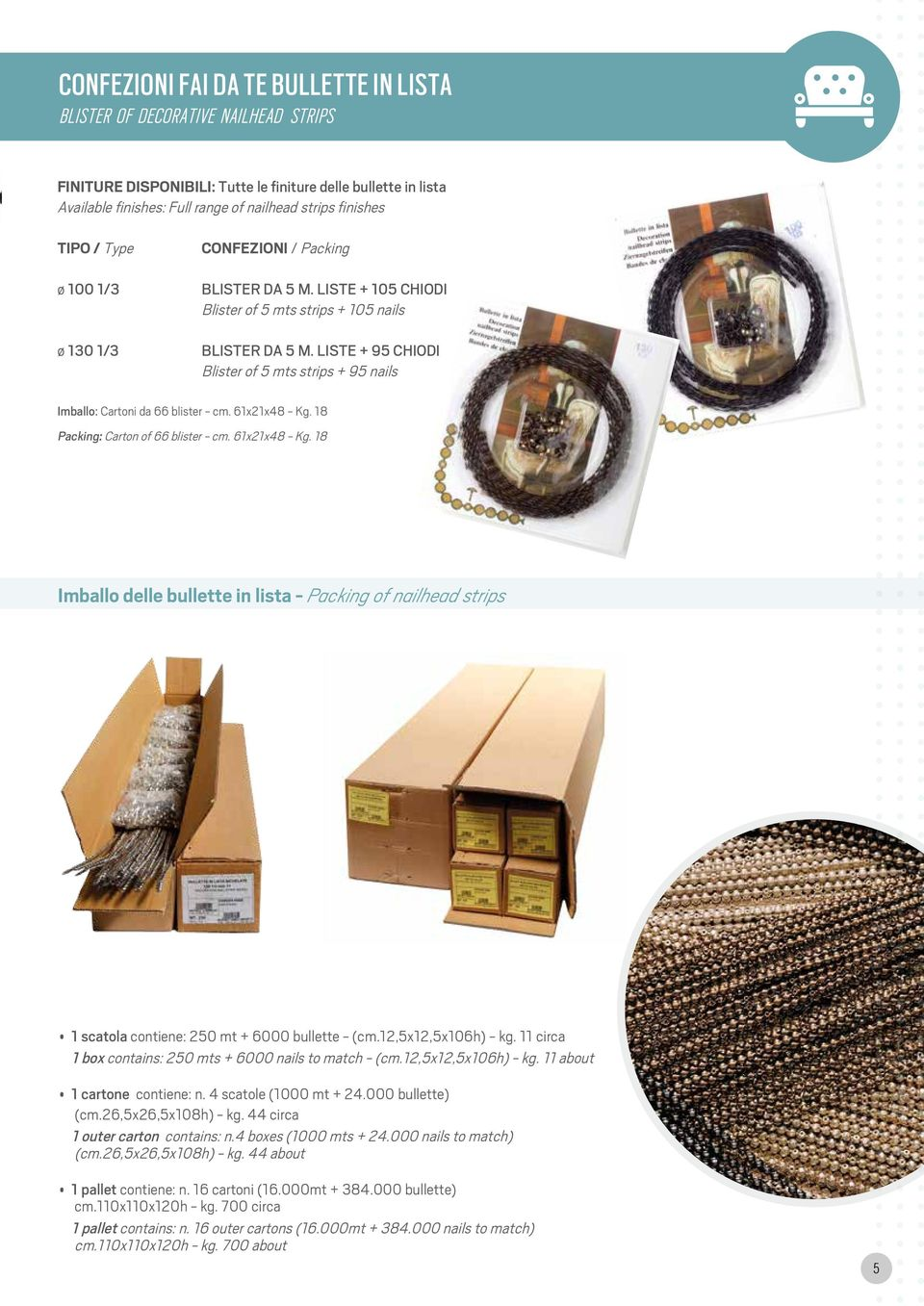 LISTE + 95 CHIODI Blister of 5 mts strips + 95 nails Imballo: Cartoni da 66 blister - cm. 61x21x48 - Kg.