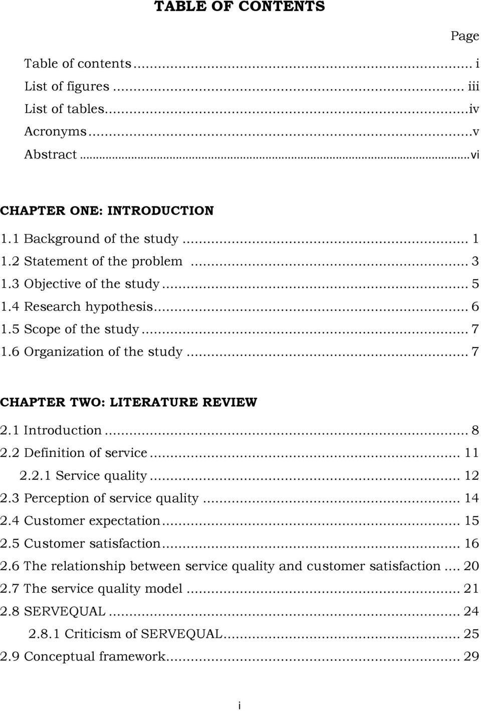 thesis service quality and customer retention